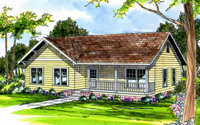 3 Bed, 2 Bath, 1328 Square Foot House Plan - #035-00163