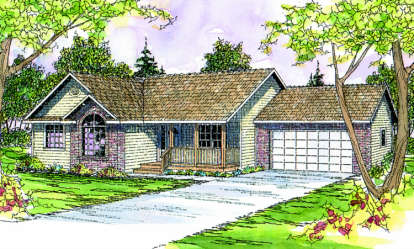 3 Bed, 2 Bath, 1609 Square Foot House Plan - #035-00164
