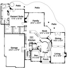 First Floor for House Plan #035-00175