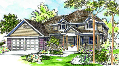 3 Bed, 2 Bath, 2296 Square Foot House Plan - #035-00182