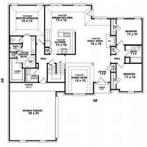 Floorplan 1 for House Plan #053-01137