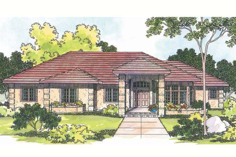 Ranch House Plan #035-00217 Elevation Photo