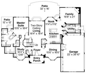 First Floor for House Plan #035-00218