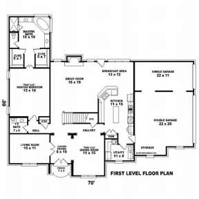 Floorplan 1 for House Plan #053-01265