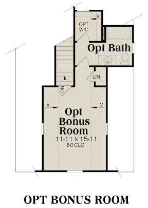 Optional Bonus Room for House Plan #009-00074