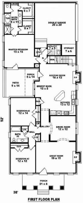 Floorplan 1 for House Plan #053-01542