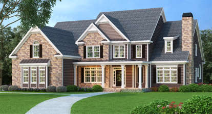 5 Bed, 4 Bath, 4083 Square Foot House Plan - #009-00075