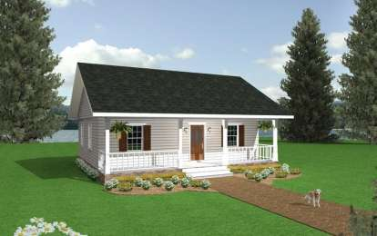 2 Bed, 1 Bath, 864 Square Foot House Plan - #1776-00001