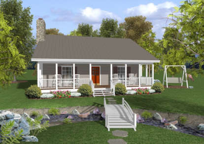 2 Bed, 1 Bath, 953 Square Foot House Plan - #036-00006