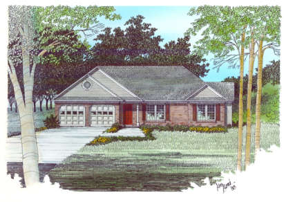 3 Bed, 2 Bath, 1477 Square Foot House Plan - #036-00021