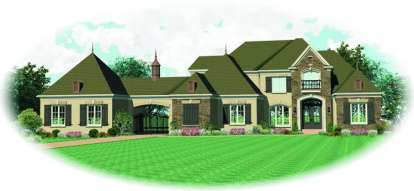 5 Bed, 4 Bath, 4363 Square Foot House Plan #053-02088